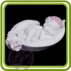 Ангел спит на листочке - Объемная силиконовая форма для мыла