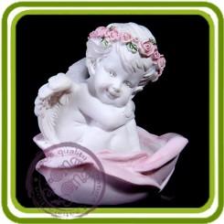 Ангел сидит в розе - Объемная силиконовая форма для мыла