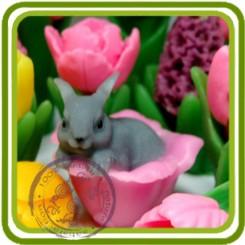 Зайка в цветке 3d - Объемная силиконовая форма для мыла