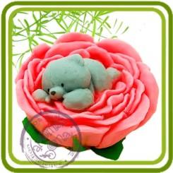 Мишка в розе - Объемная силиконовая форма для мыла