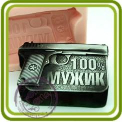 100% мужик (пистолет) - Эксклюзивная силиконовая форма для мыла и свечей.