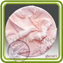 Колибри на гибискусе (круг) 2D - Объемная силиконовая форма для мыла