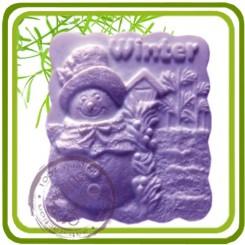 Зима-снеговик (прямоуг) - Объемная силиконовая форма для мыла