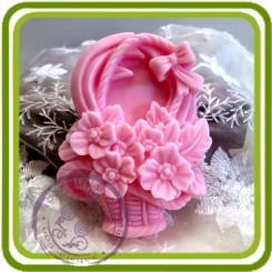 Букетик роз в корзине 2D - Объемная силиконовая форма для мыла
