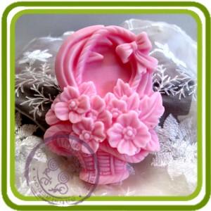 Букетик цветов в корзине - 2D силиконовая форма для мыла, свечей, шоколада, гипса и пр.