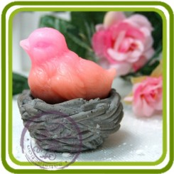 Птичка в гнезде 3D - Объемная силиконовая форма для мыла