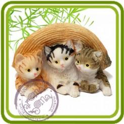 Котята под шляпой - Объемная силиконовая форма для мыла №634