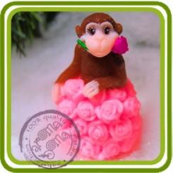 3D (ser2) Обезьянка Кармен (на розах)  - Объемная силиконовая форма для мыла