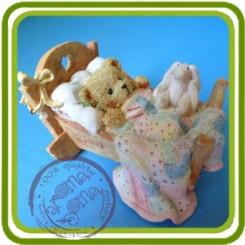 Мишка спит с зайкой - Объемная силиконовая форма для мыла