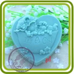 Мишка-девочка 2d - Объемная силиконовая форма для мыла №135