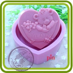 Мишка-мальчик 2d - Объемная силиконовая форма для мыла №136