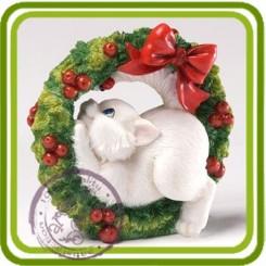 Кот в рождественском венке 3D- Объемная силиконовая форма для мыла