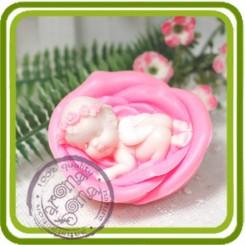 Ангел спит в розе 3d - Объемная силиконовая форма для мыла