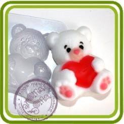 Мишка с сердцем - пластиковая форма для мыла