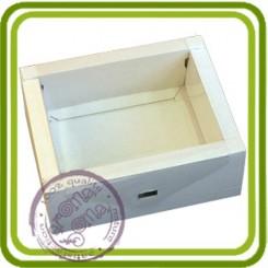 Коробка-ящик (м) белый с прозрачной крышкой