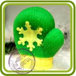 Варежка со снежинкой 3D - Объемная силиконовая форма для мыла