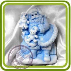 Дед Мороз (санта) с подарками 2D - Объемная силиконовая форма для мыла