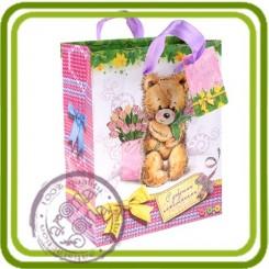 Пакет подарочный - Мишка с добрыми пожеланиями