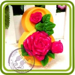 8 марта (розы) 2d - Авторская силиконовая форма для мыла