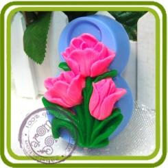 8 марта (тюльпаны) 2d - Авторская силиконовая форма для мыла