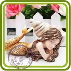 Русалочка спит в ракушке большая (з) 3D - Объемная силиконовая форма для мыла, свечей, гипса, шоколада и пр.