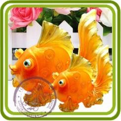Золотая рыбка (3 размера)  3d - Эксклюзивнвя силиконовая форма для мыла, свечей,гипса и пр