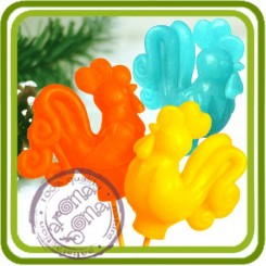 Петушок (на палочке) 3D - Авторская силиконовая форма для мыла, свечей, шоколада и пр.