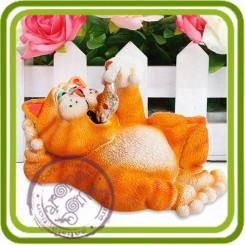 Кот с рыбкой 3d - Объемная силиконовая форма для мыла, свечей, гипса, шоколада и пр.
