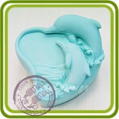 Дельфины (сердце) 2d - силиконовая форма для мыла, свечей, шоколада, гипса и пр.