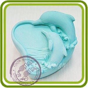 Дельфины (сердце) - 2D силиконовая форма для мыла, свечей, шоколада, гипса и пр.