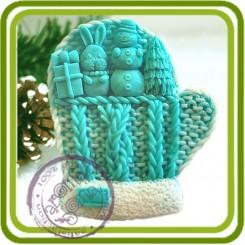 Варежка вязаная с пальчиками - Авторская 2D силиконовая форма для мыла, свечей, шоколада, гипса и пр.