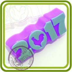 2017.Петух силуэт - пластиковая форма для мыла
