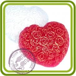 Сердце из роз - пластиковая форма для мыла
