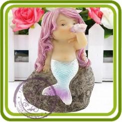 Русалочка держит ракушку - 3D Объемная силиконовая форма для мыла, свечей, гипса, шоколада и пр.