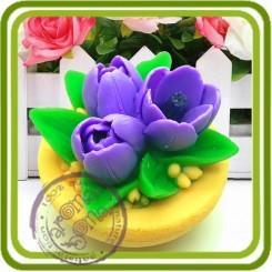 Букет крокусов в чаше - 3D силиконовая форма для мыла, свечей, шоколада, гипса и пр.